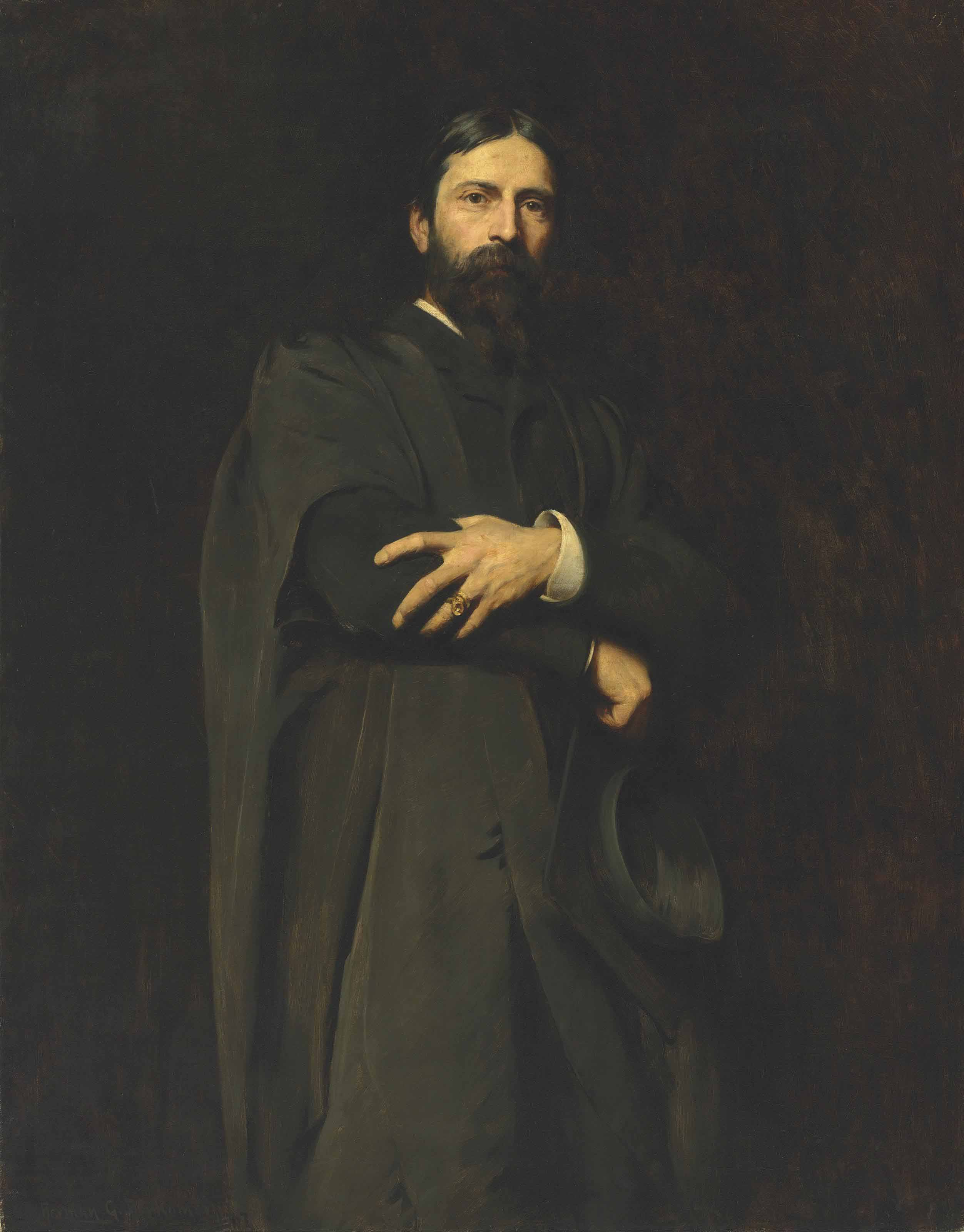 Sir Hubert von Herkomer, R.A., three-quarter-length, standing, wearing the Slade Professor's gown and holding a mortar-board