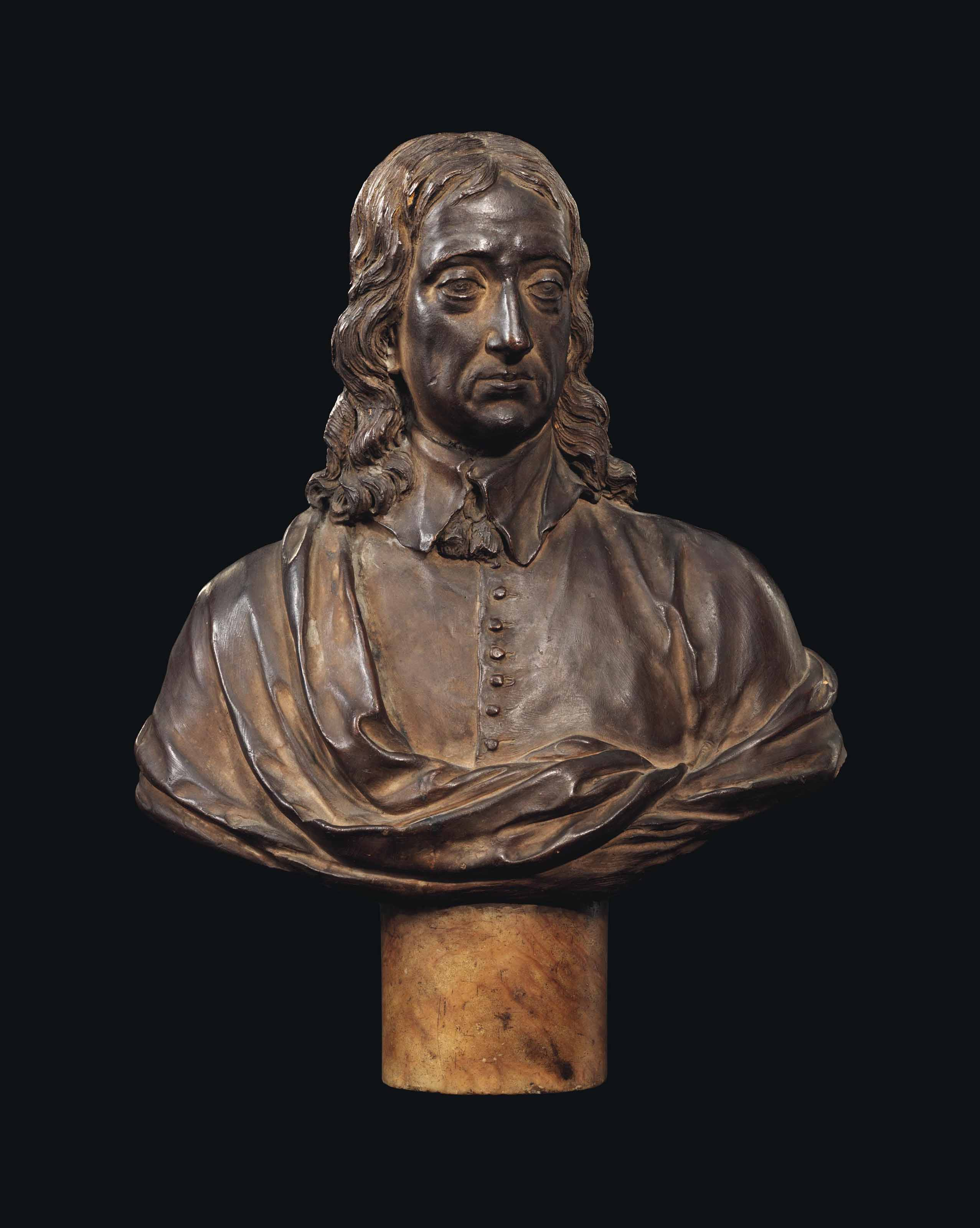 A TERRACOTTA BUST OF JOHN MILTON