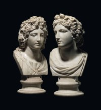 A PAIR OF MARBLE BUSTS OF TERPSICHORE AND MELPOMENE