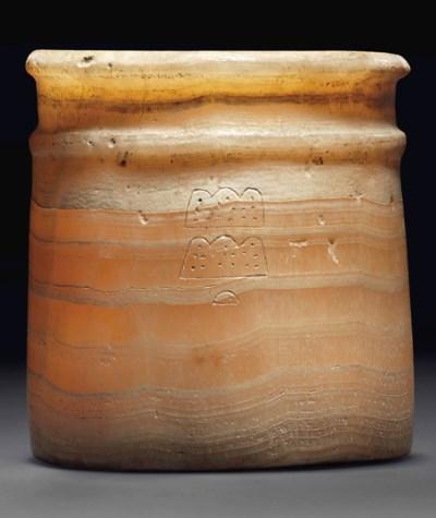 AN EGYPTIAN ALABASTER JAR INSC