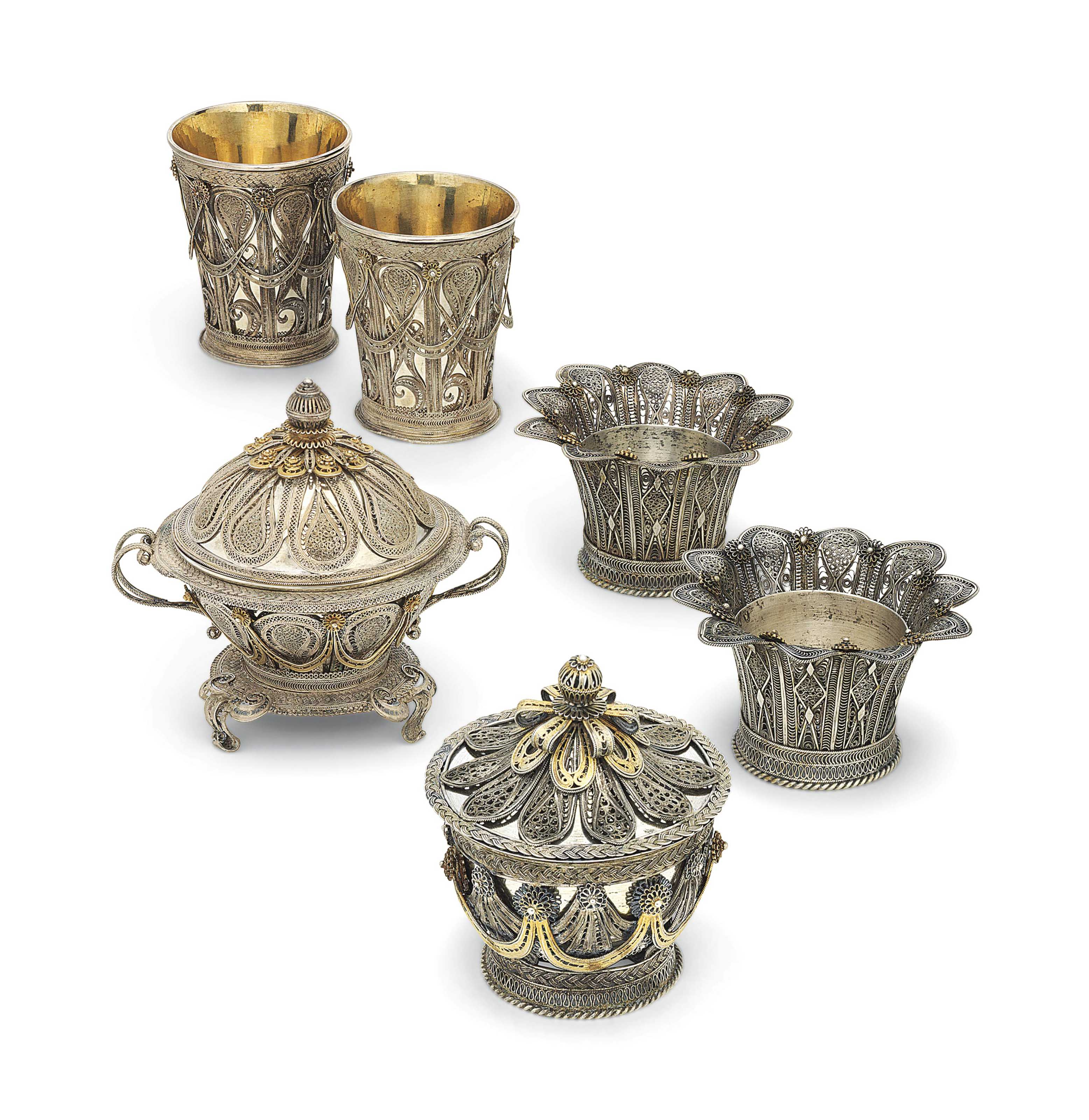 A GROUP OF OTTOMAN SILVER AND