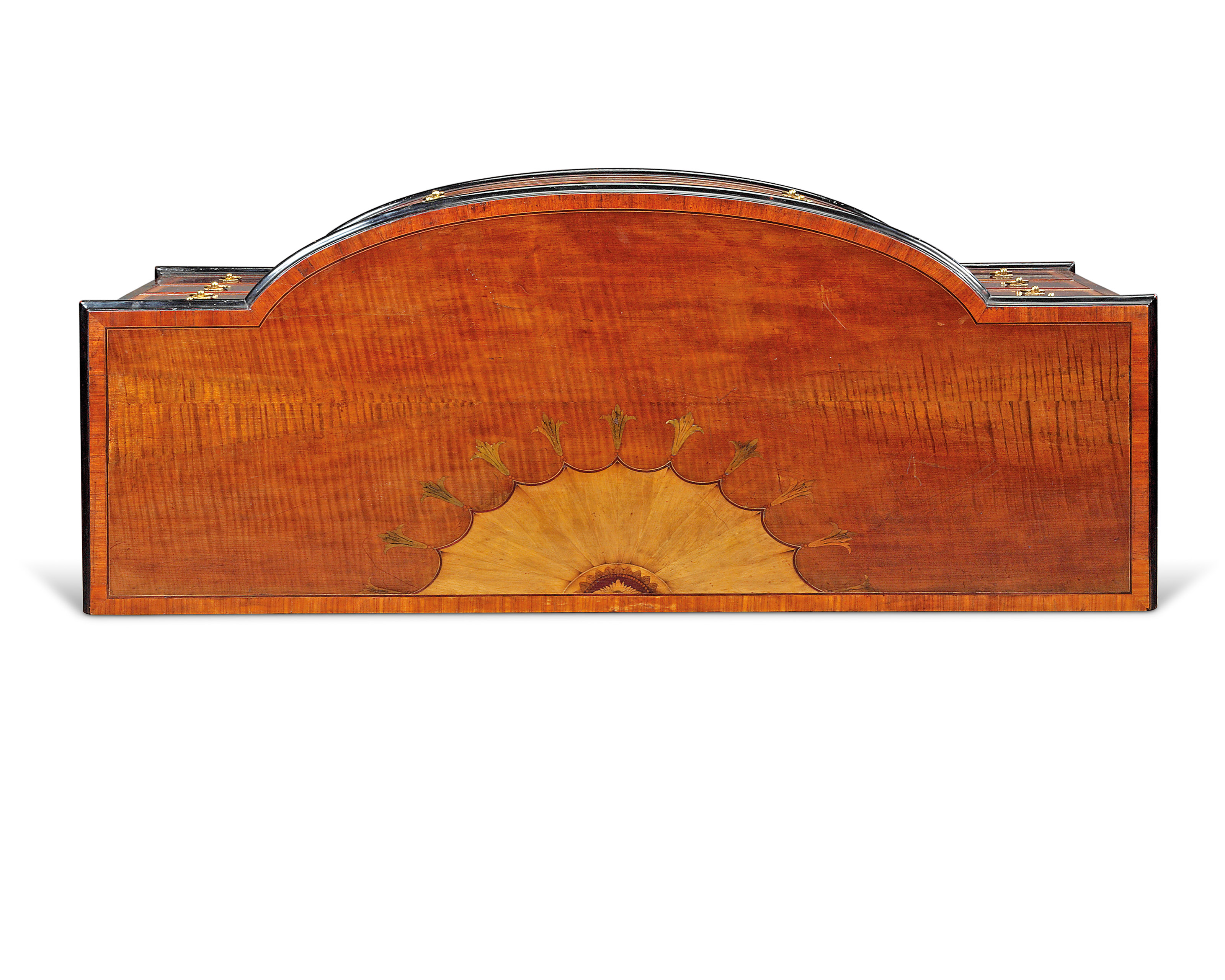 A GEORGE III HAREWOOD, ROSEWOOD-CROSSBANDED AND SATINWOOD-INLAID BOWFRONT COMMODE