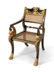 A REGENCY EBONISED AND PARCEL-
