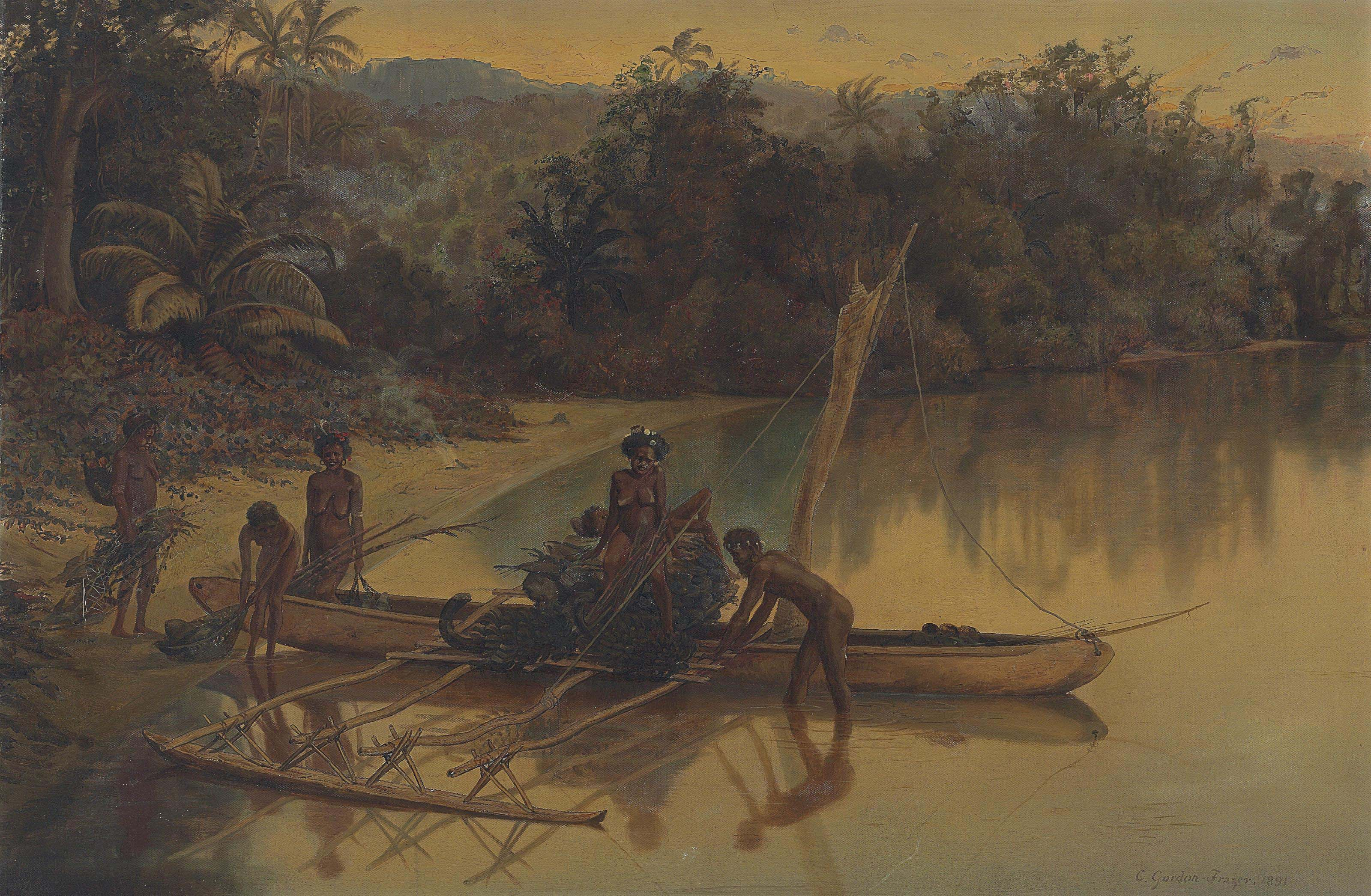 An outrigger in the New Hebrides