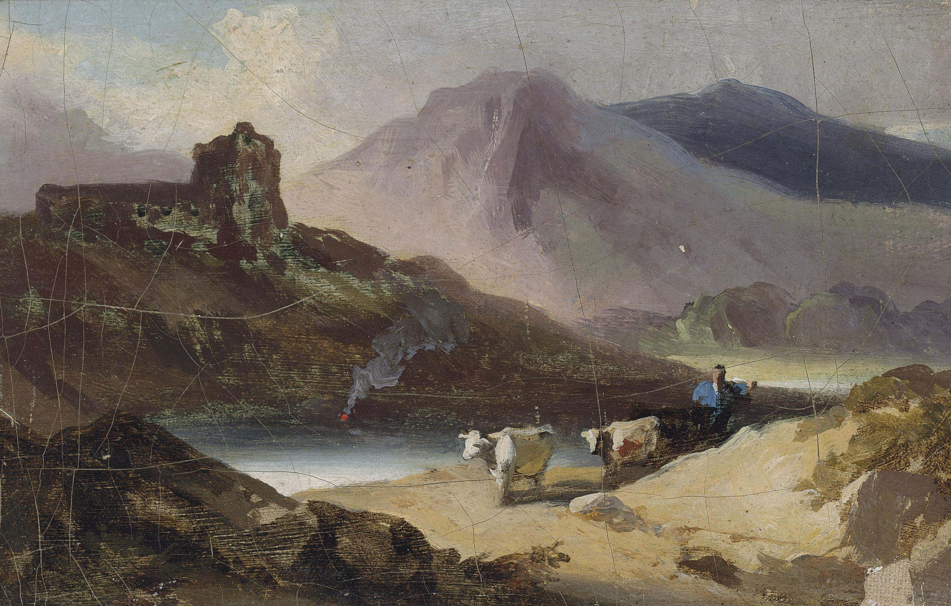 A Chinese landscape, Macao, with a drover and cattle