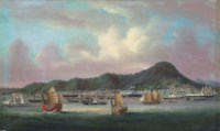 Hong Kong with British, French, American and Chinese shipping in Victoria Harbour