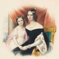 Portrait of Empress Amélie-Auguste-Eugenie of Brazil with her daughter Marie-Amélie-Auguste