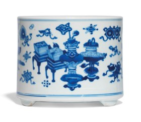 A BLUE AND WHITE BRUSHPOT