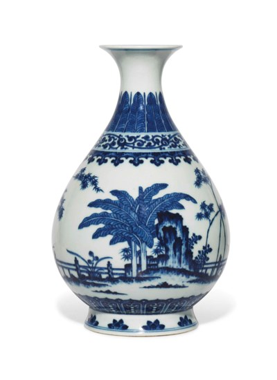 A MING-STYLE BLUE AND WHITE PE