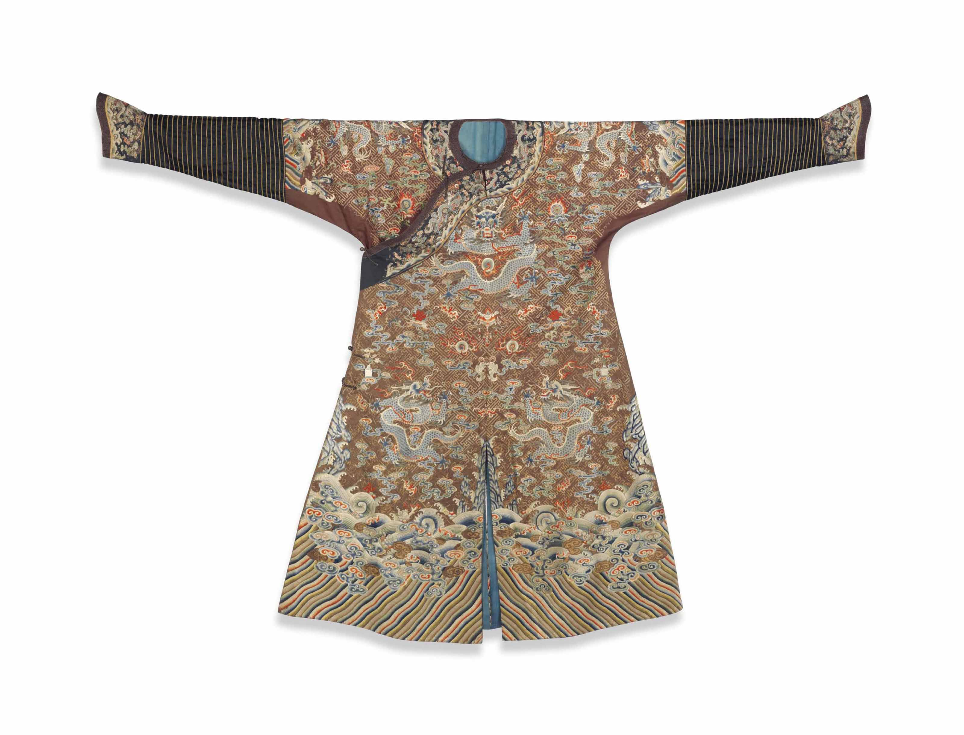 A BROWN FORMAL COURT ROBE FOR