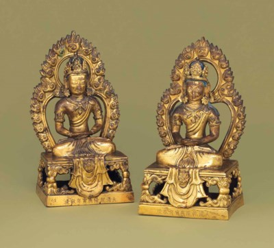 TWO GILT-BRONZE MODELS OF AMIT