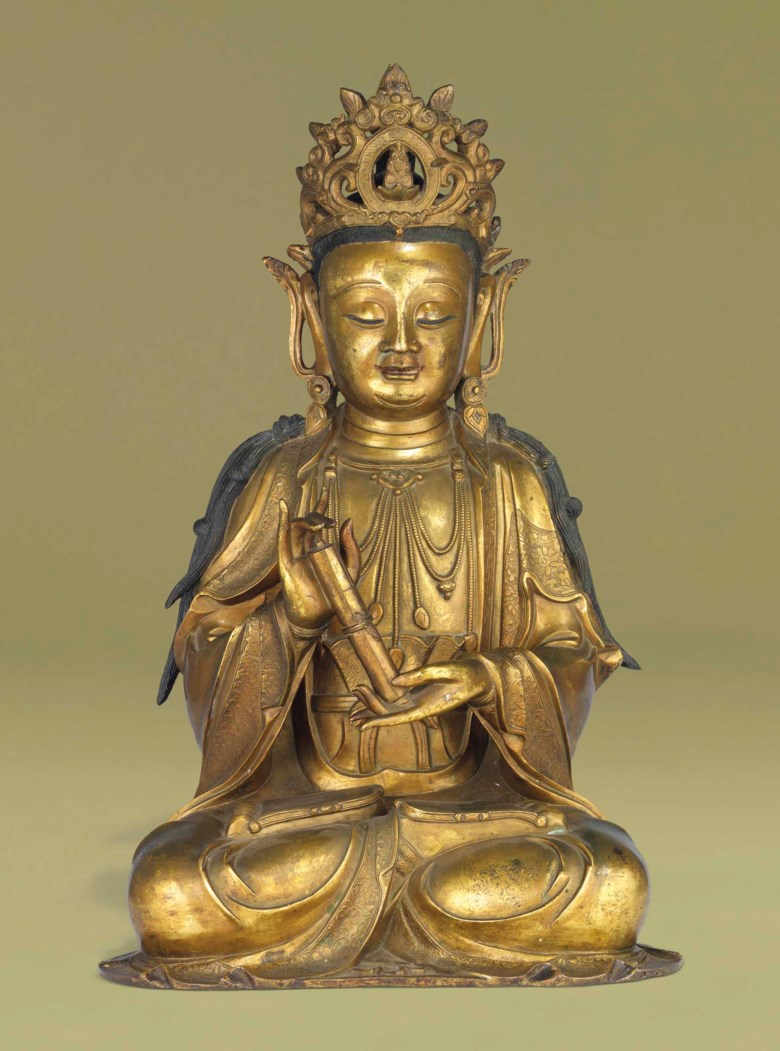 A rare gilt-bronze figure of Guanyin. 17th century. 22⅞ in (58.8 cm). This lot was offered in Chinese Ceramics & Works of Art  on 8 November 2016 at Christie's in London and sold for £269,000