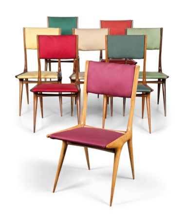 Carlo de Carli 1910-1999, An Important Dining Suite, 1949. Chairs 33½  in (85  cm) high; 18  in (46  cm) wide; 21½  in (55  cm) deep. Sold for £35,000 on 26 October 2016 at Christie's in London
