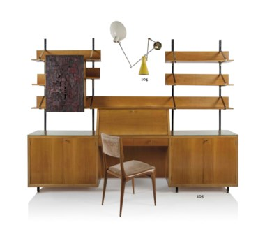 Carlo de Carli (1910-1999), A unique bureau, circa 1960. Walnut and walnut veneer, brass, painted metal, the cabinet door with a panel by Agenore Fabbri, 'Personaggio I', 1961, together with the original chair. 80½ in (204 cm) high; 105½ in (268 cm) wide; 14¼ in (36 cm) deep. Estimate £6,000-9,000. This lot is offered in Design on 26 October 2016 at