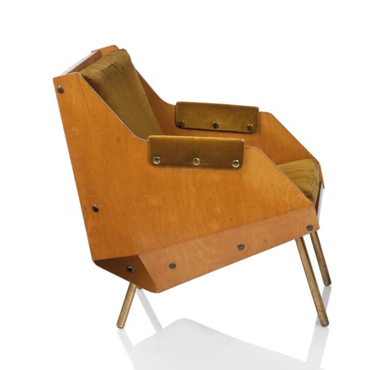 Carlo de Carli (1910-1999), An important armchair, 1949. Original velvet upholstery, laminated birch, brass. 30½ in (78 cm) high; 22¾ in (57.5 cm) wide; 27¾ in (70 cm) deep. Estimate £4,000-6,000. This lot is offered in Design on 26 October 2016 at Christie's in London, King Street