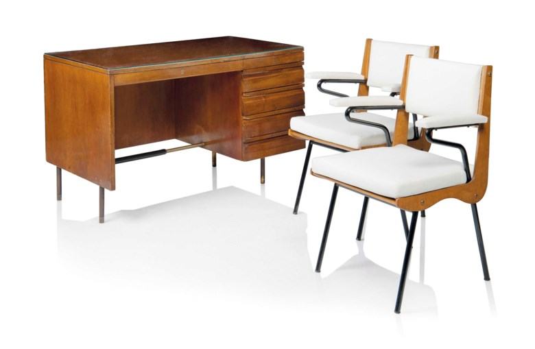 Carlo de Carli 1910-1999, A desk and a pair of armchairs, 1949. Each chair 33¾  in (85.5  cm) high; 22½  in (57  cm) wide; 20¾  in (52.5  cm) deep. Sold for £15,000 on 26 October 2016 at Christie's in London