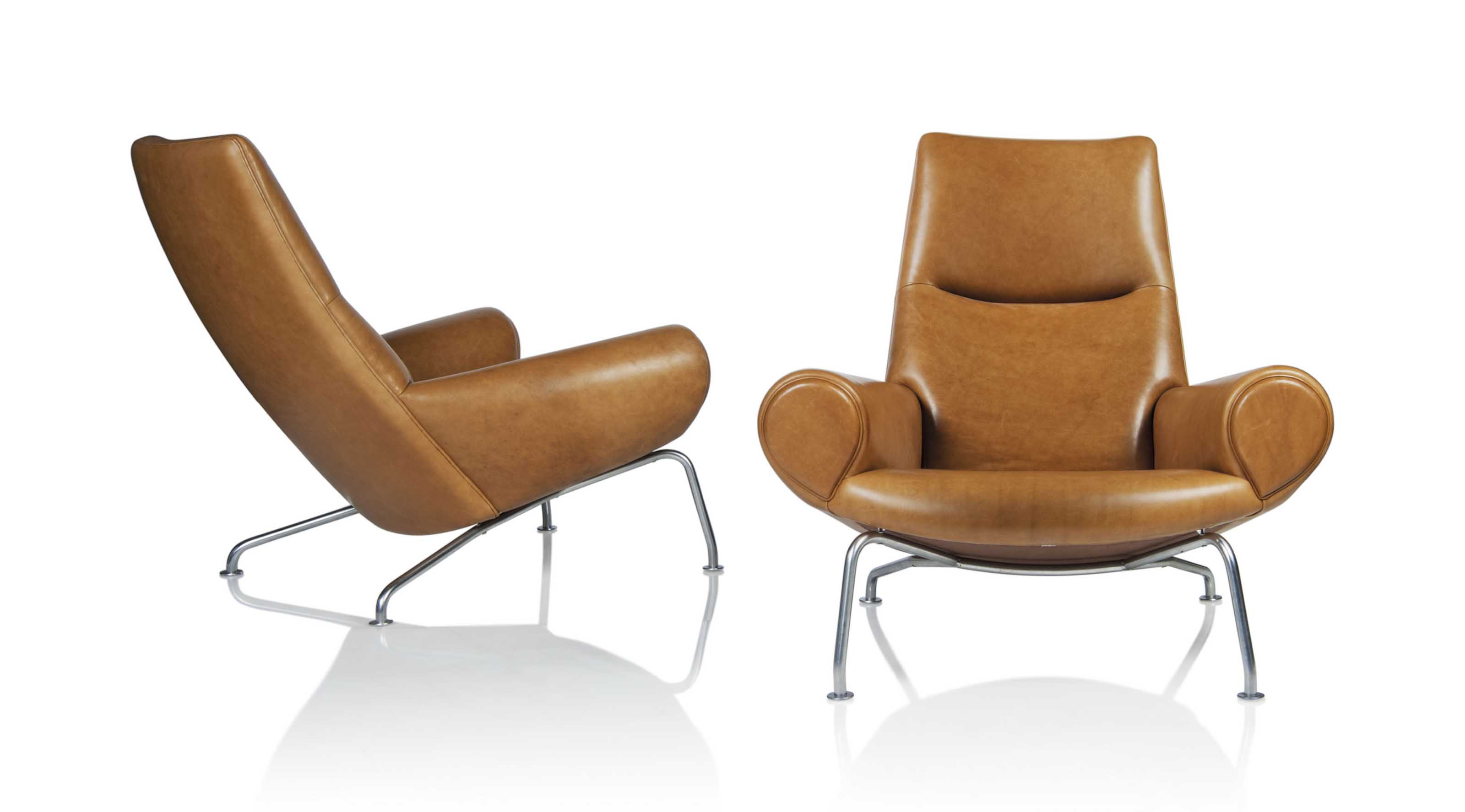 Hans wegner 1914 2007 a pair of early 39 queen 39 ox chairs for Hans wegner queen chair