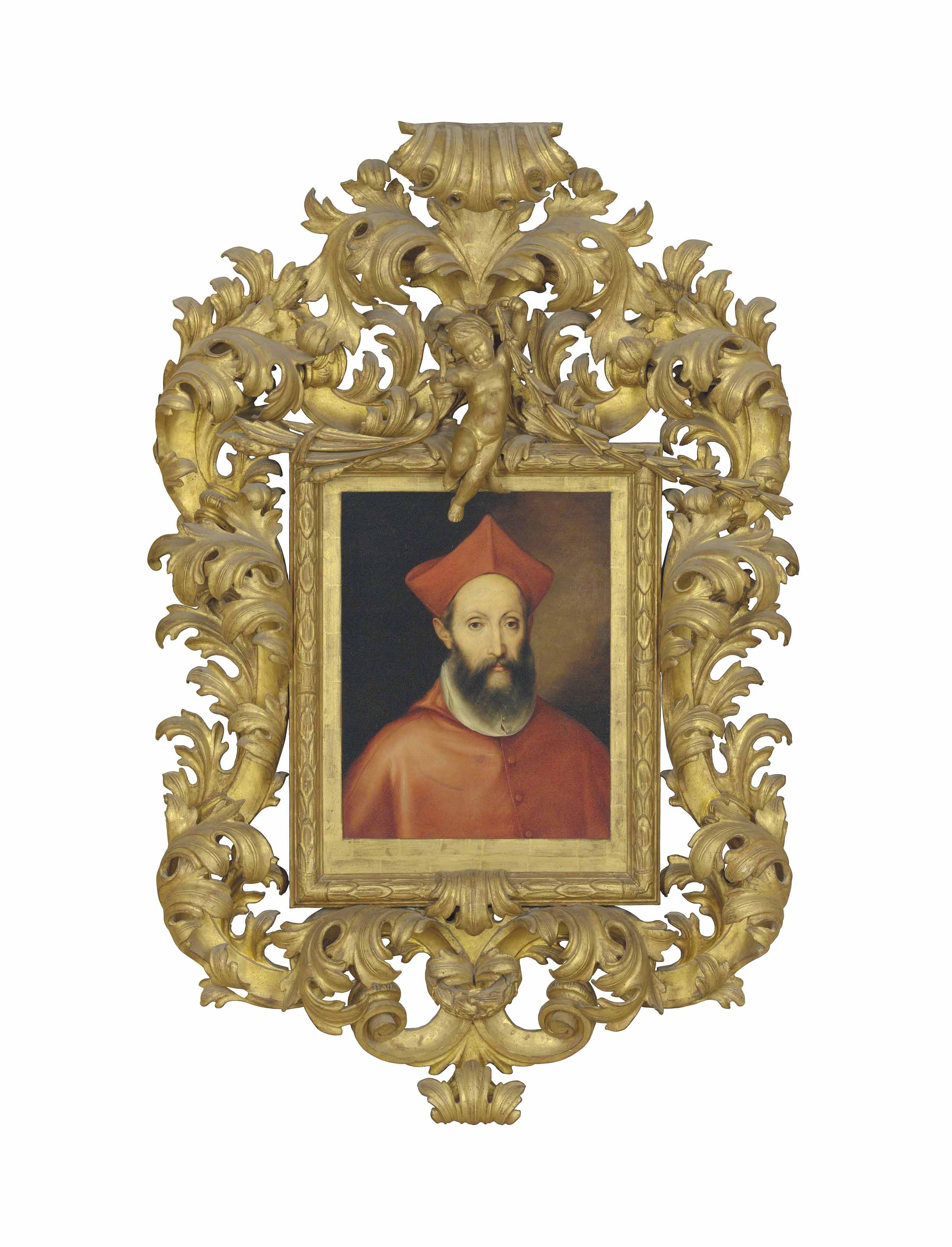 Portrait of a cardinal, bust-length, in a crimsonmozzetta and biretta