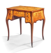 A GEORGE III SYCAMORE, AMARANTH AND MARQUETRY DRESSING-TABLE
