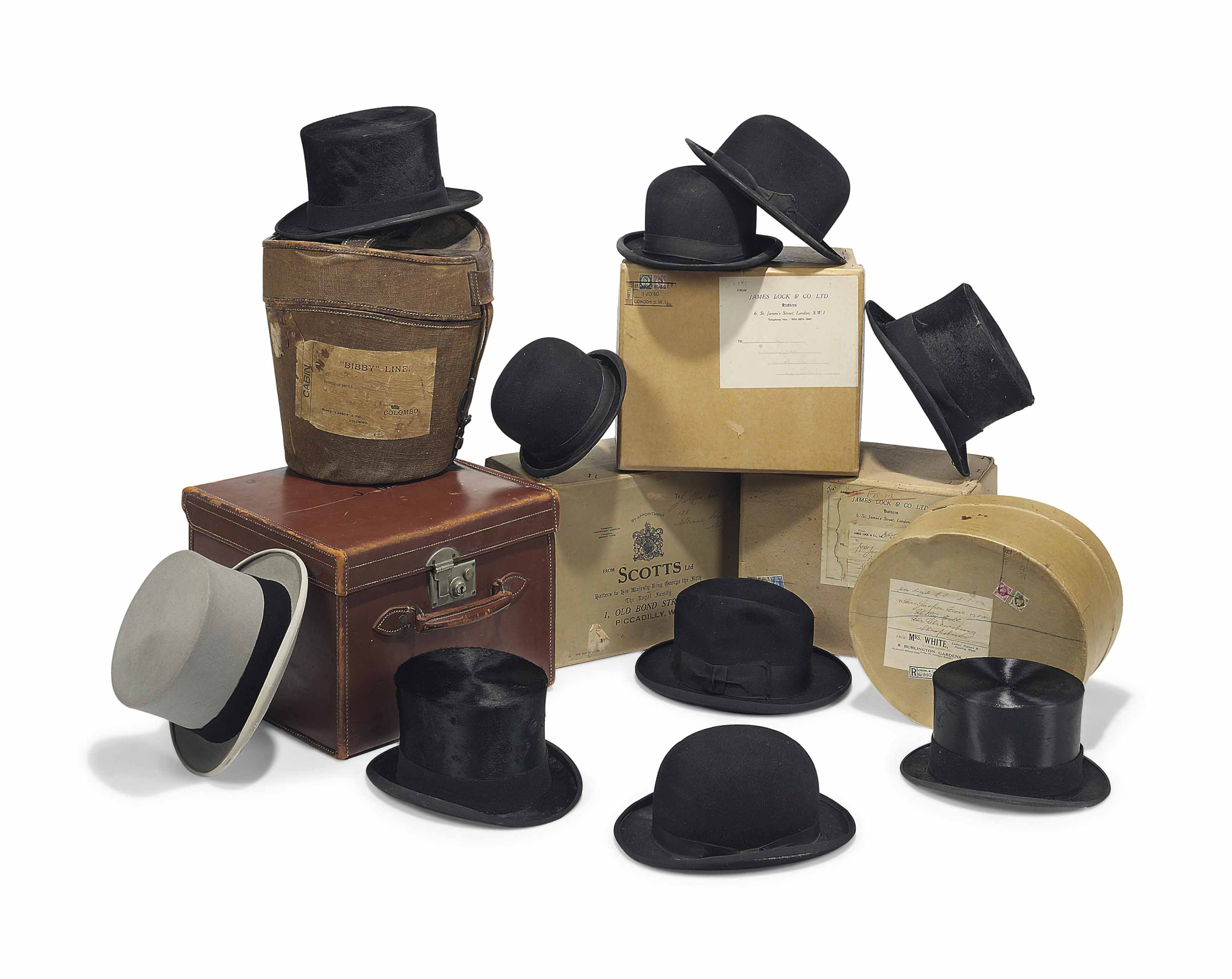 A COLLECTION OF FIVE TOP HATS