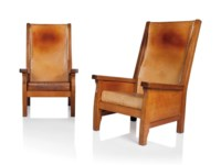 A PAIR OF HIGH-BACK ARMCHAIRS