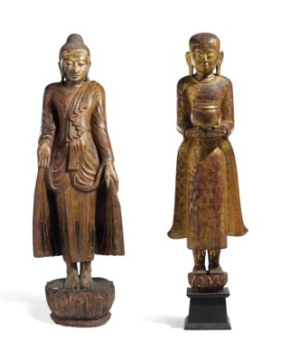 TWO GILT AND BLACK LACQUERED W