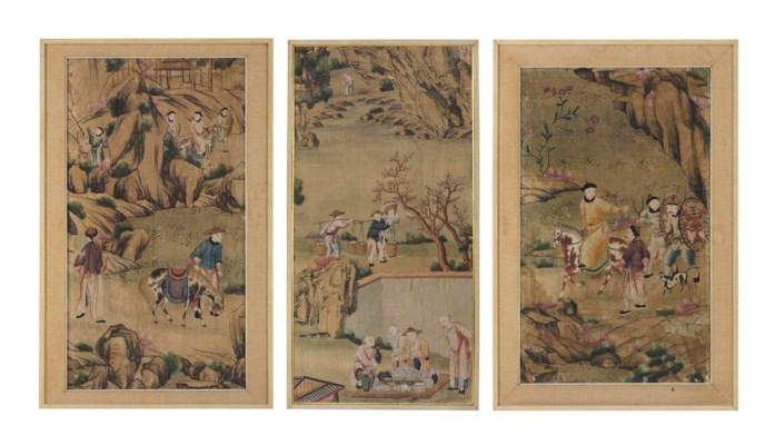 THREE CHINESE PAINTED WALLPAPE