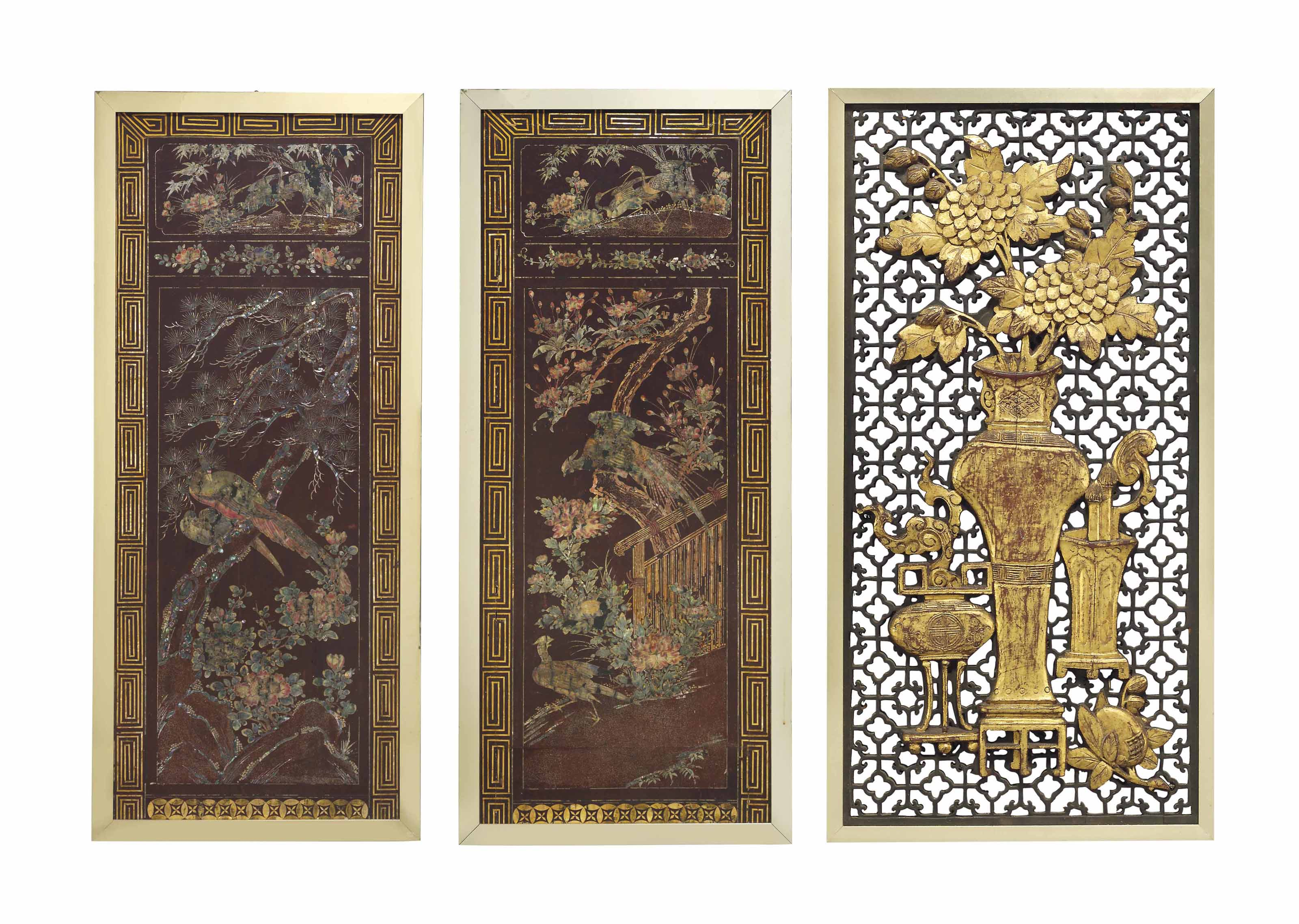 A PAIR OF JAPANESE INLAID LACQUERED PANELS AND A CHINESE DOU...