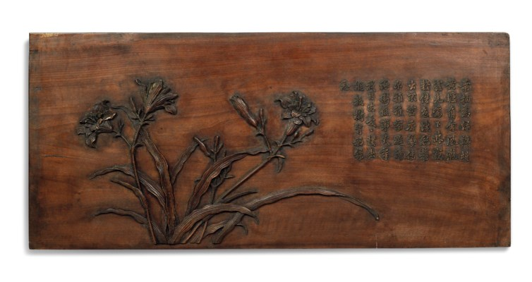 TWO CHINESE CARVED WOOD PANELS