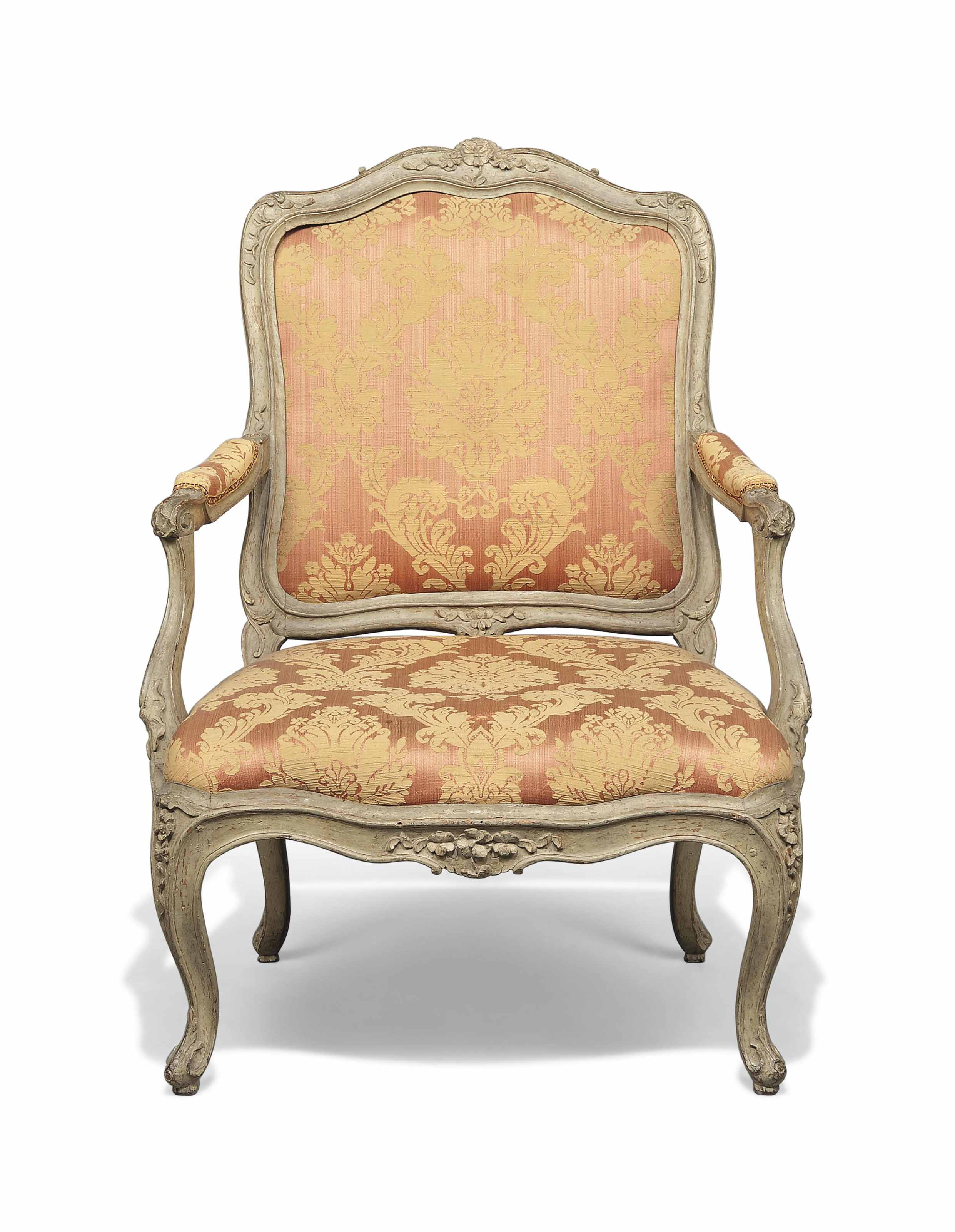 A LOUIS XV PALE GREEN-PAINTED