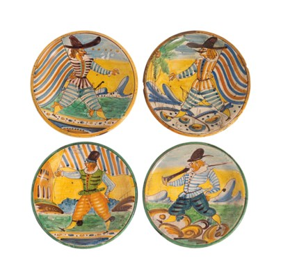 FOUR MONTELUPO MAIOLICA DISHES