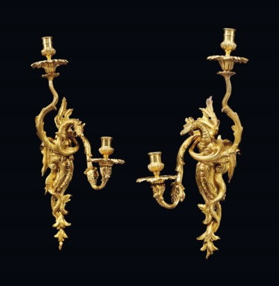 A PAIR OF LOUIS XV ORMOLU TWIN