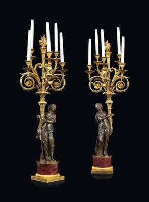 A PAIR OF LOUIS XVI PATINATED-