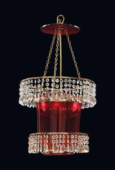 A RUSSIAN ORMOLU, RUBY GLASS A