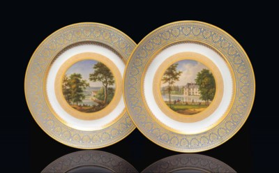 TWO SEVRES (HARD PASTE) FOND A