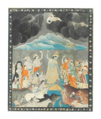 KRISHNA LIFTS MOUNT GOVARDHAN