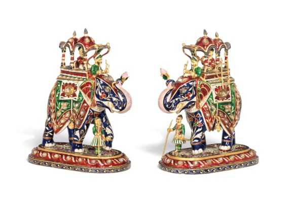 TWO LARGE ENAMELLED GOLD FIGUR