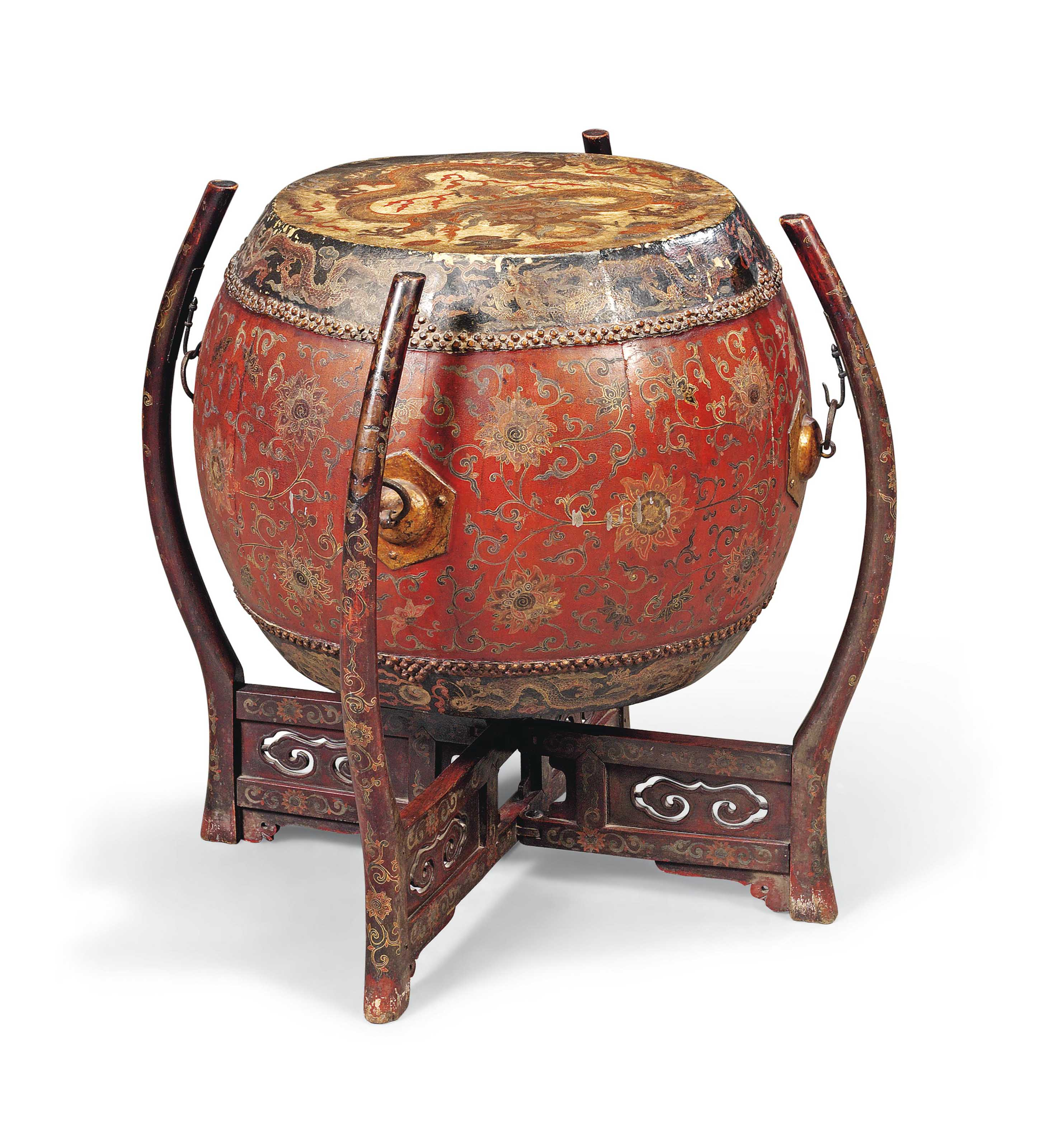 A RARE CHINESE LACQUER DRUM AN