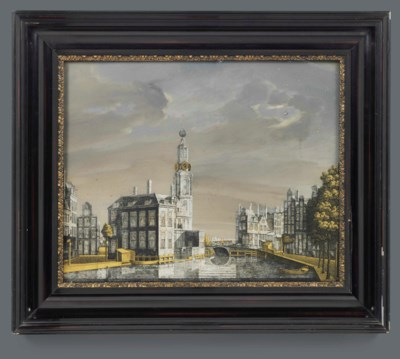 A DUTCH VERRE EGLOMISE VIEW OF