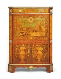 A LOUIS XVI ORMOLU-MOUNTED TULIPWOOD, SYCAMORE AND FRUITWOOD MARQUETRY AND MOTHER-OF-PEARL INLAID SECRETAIRE A ABATTANT