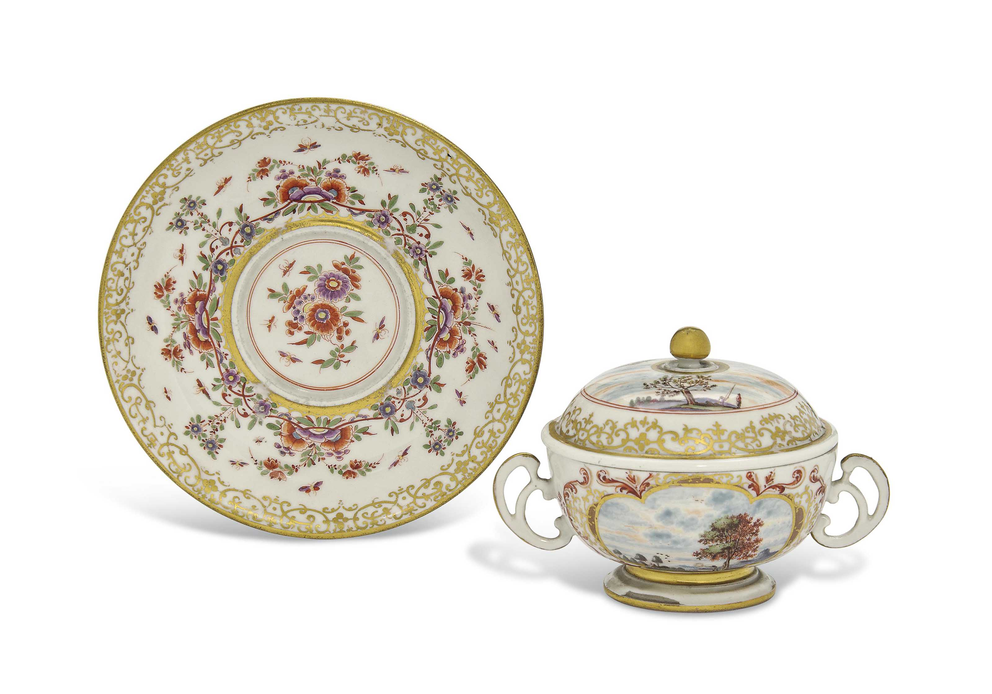 A MEISSEN CIRCULAR TWO-HANDLED