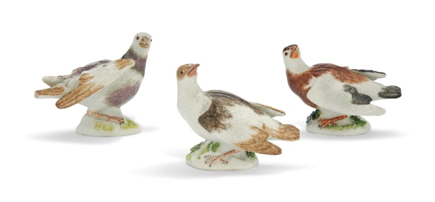 THREE MEISSEN MODELS OF DOVES