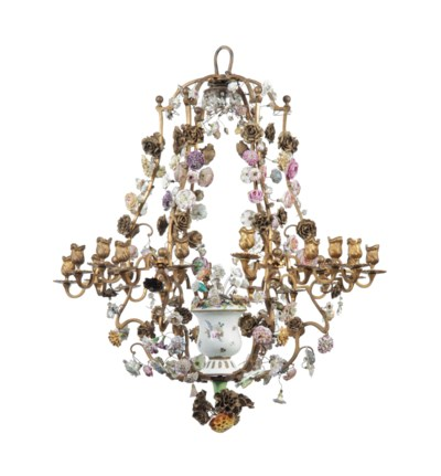 A LOUIS XV GILT-TOLE, CRYSTAL