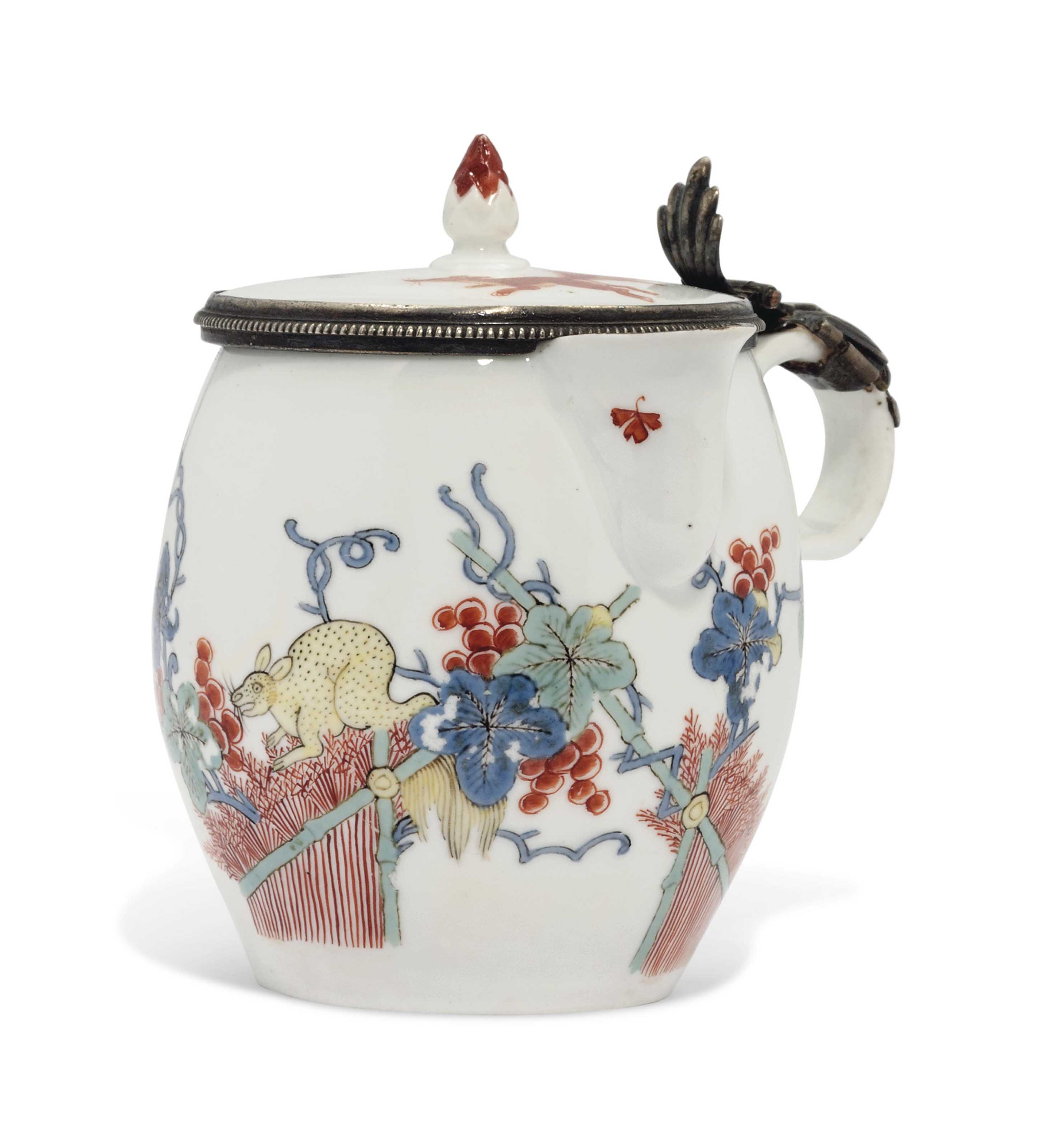 A MEISSEN SILVER-MOUNTED KAKIEMON MUSTARD POT AND COVER