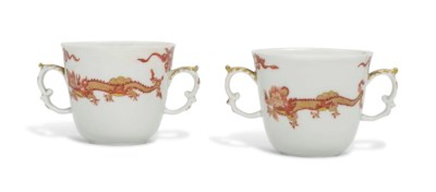 TWO MEISSEN TWO-HANDLED BEAKER