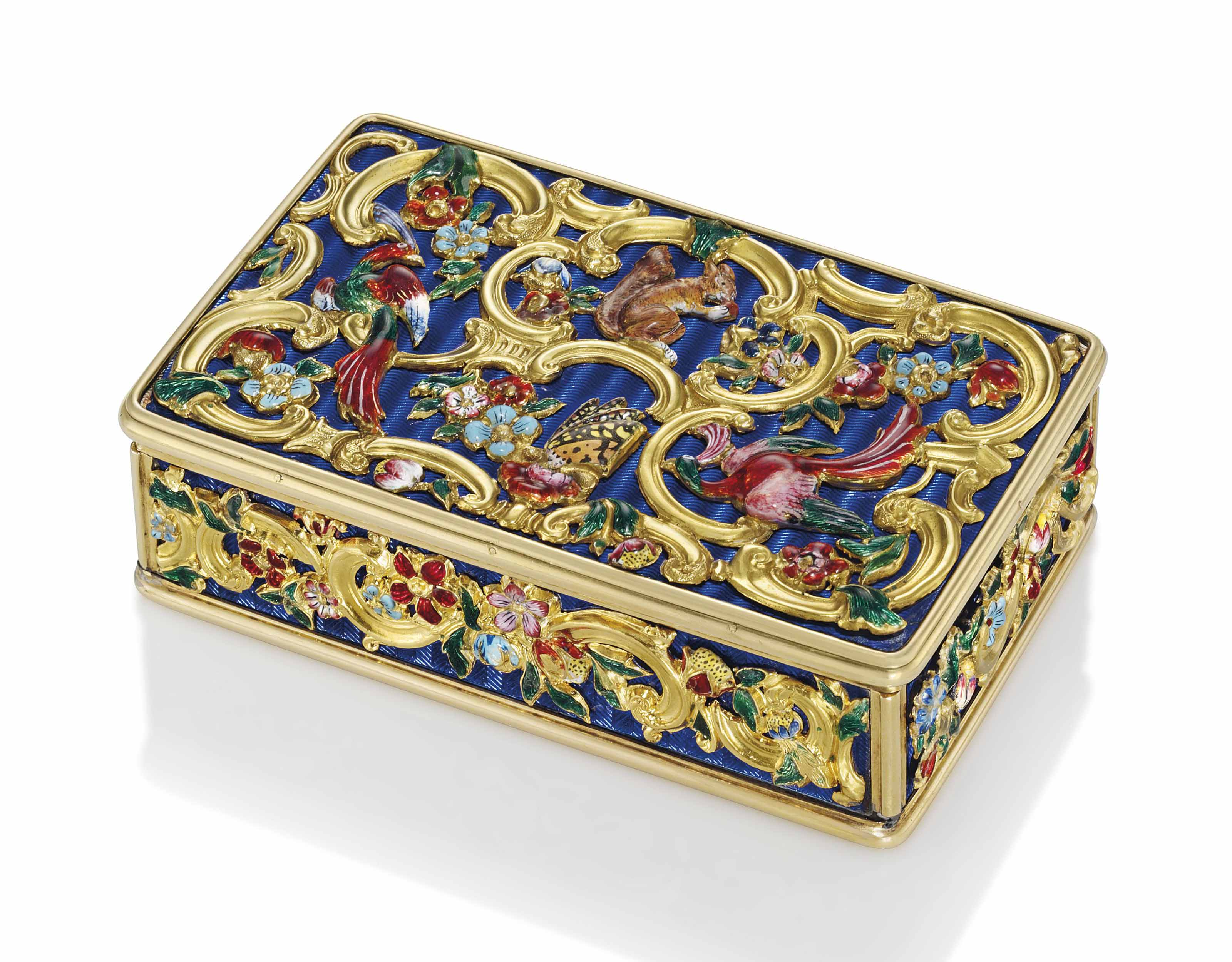 A REGENCY ENAMELLED GOLD SNUFF-BOX