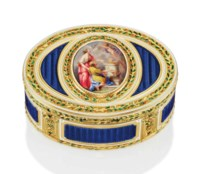 A LOUIS XVI ENAMELLED GOLD SNUFF-BOX SET WITH AN ENAMEL PLAQUE