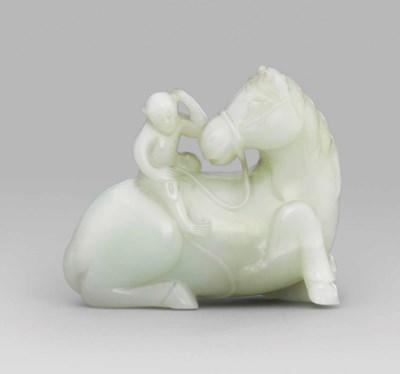A WHITE JADE 'HORSE AND MONKEY