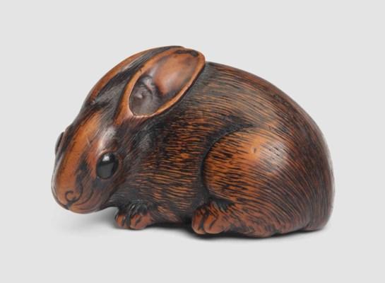 A Wood Netsuke of a Hare