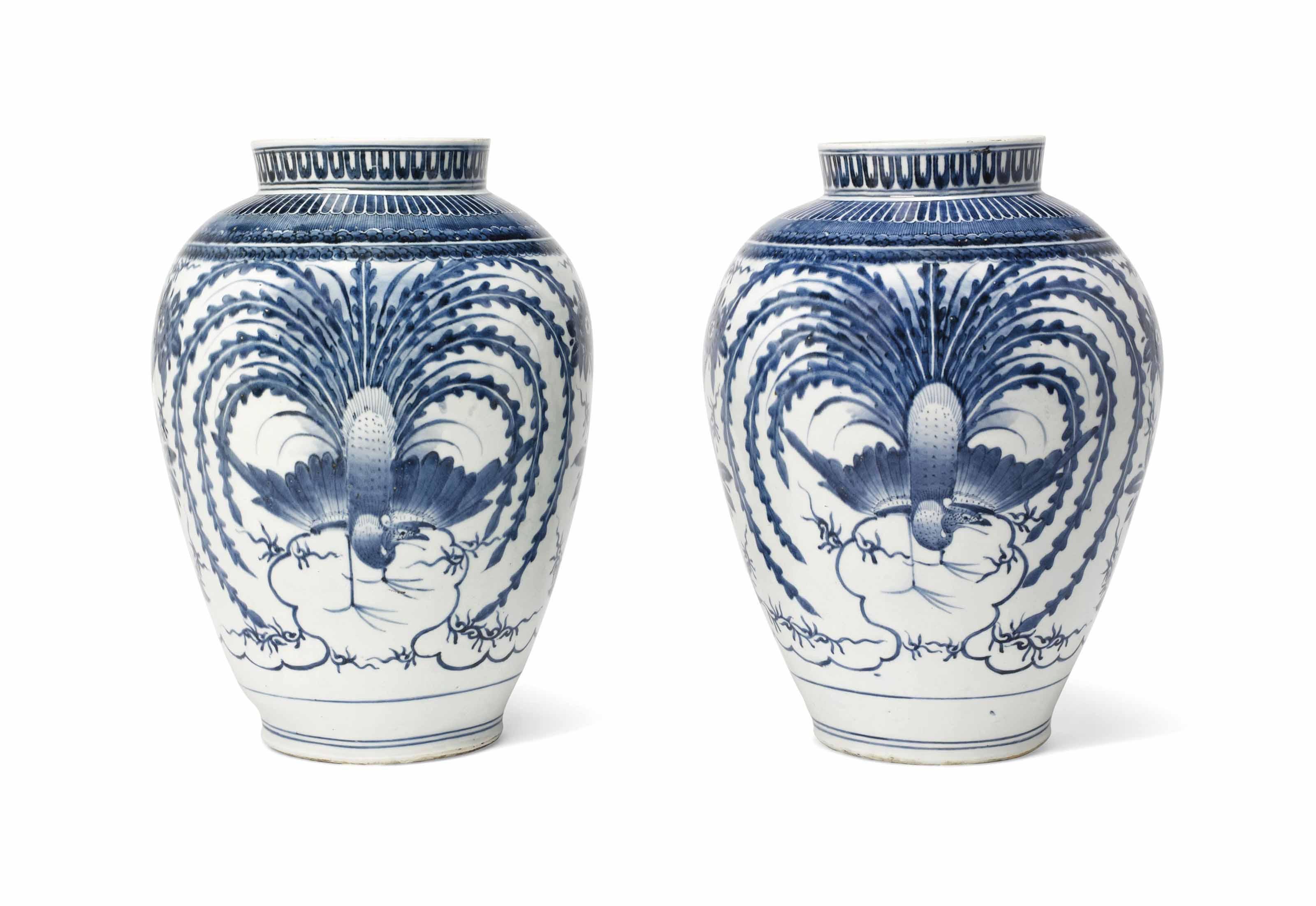 A Pair of Fine Arita Vases of Rare Design
